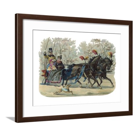 Older and Younger Sisters Ride in a Sleigh While their Dog Runs Beside Them Framed Print Wall
