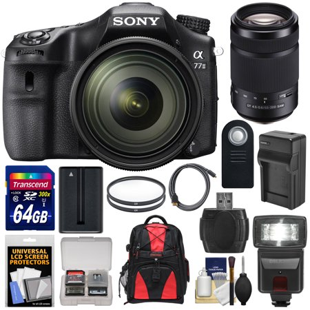 Sony Alpha A77 II Wi-Fi Digital SLR Camera & 16-50mm Lens with 55-300mm Lens + 64GB Card + Battery +... by