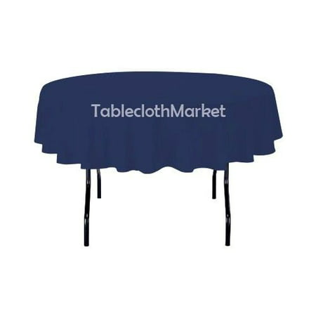 "70"" Inch round Polyester Tablecloth 24 COLOR Table Cover Wedding Catering Dinner"", (Color: Navy)"