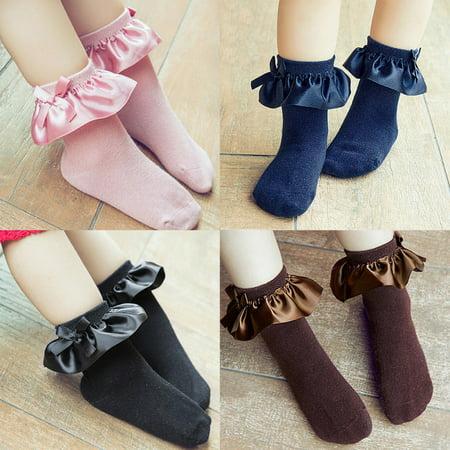Bobora 2-8Y Kids Baby Girl Anti-slip Socks Cartoon Lace Ruffle Bow Ankle Socks Toddler