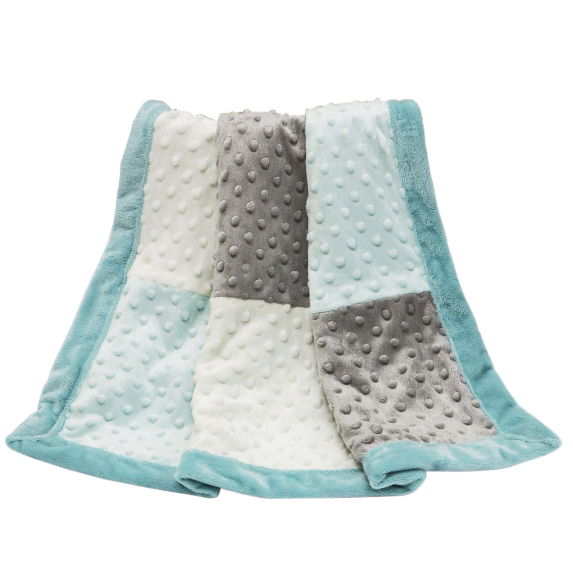 The Peanut Shell Baby Blanket - Grey and Mint Zig Zag - Uptown Giraffe Patchwork Blanket