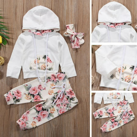 Suit Outfits (Baby Girl Infant Clothes Hooded Tops Pants Infant Outfits Sets)