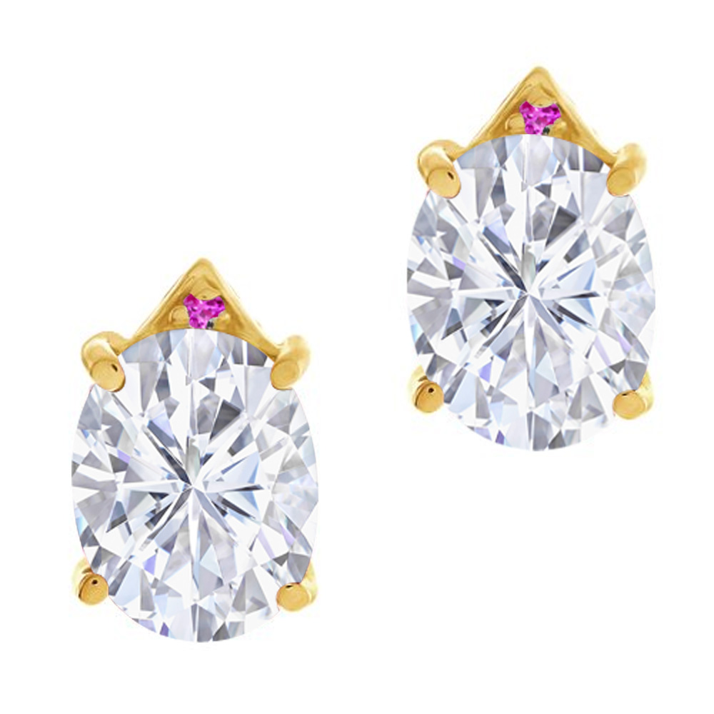 5.46 Ct Oval White Created Moissanite Pink Sapphire 18K Yellow Gold Earrings by