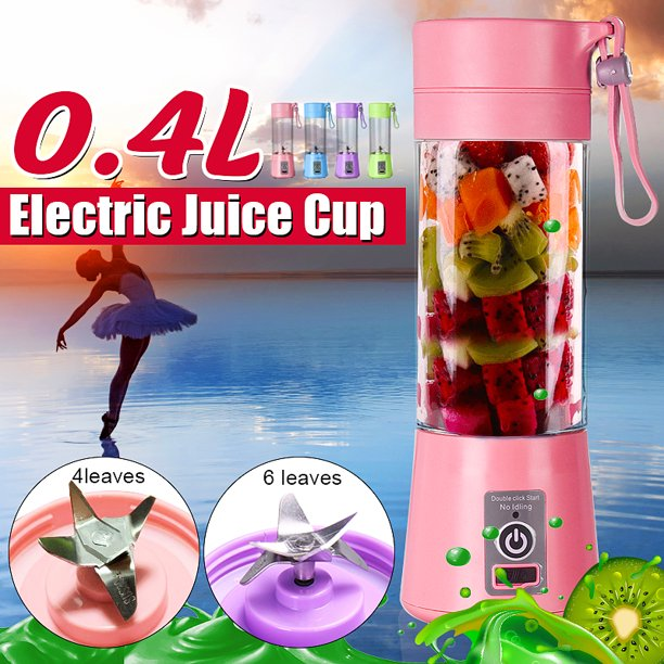 Portable Blender, Multi functional Household USB Rechargeable Electric Juice Maker Bottle Cup Fruit Juicer Smoothie Mixing Machine, 46 Blades