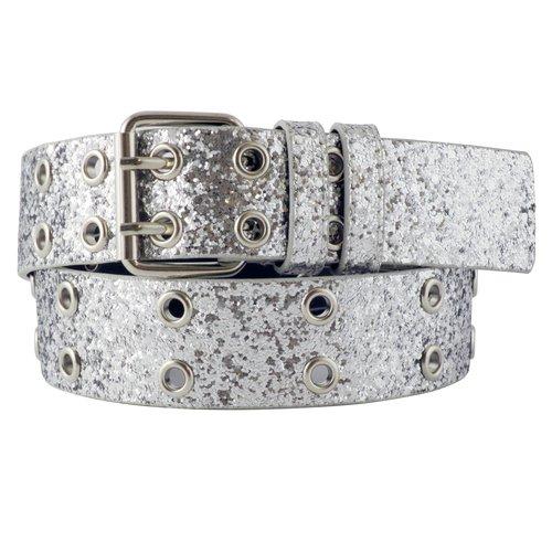 No Boundaries Women's Double Eyelet Sugar Glitter Belt, Silver