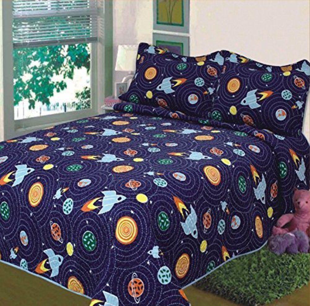 Fancy Linen Twin Size 2pc Bedspread Boys Space Planets Solar system Blue New