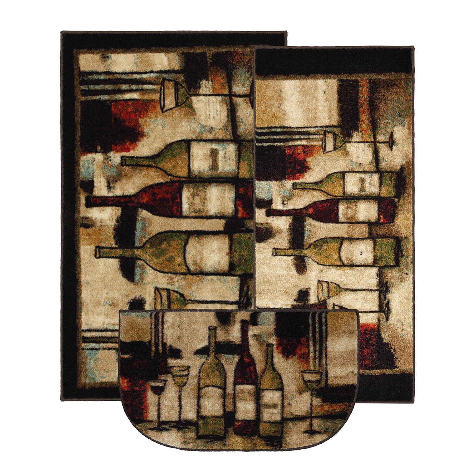 Mohawk Home New Wave Wine and Glasses Brown Kitchen Mat, Set of 3, Multiple Sizes