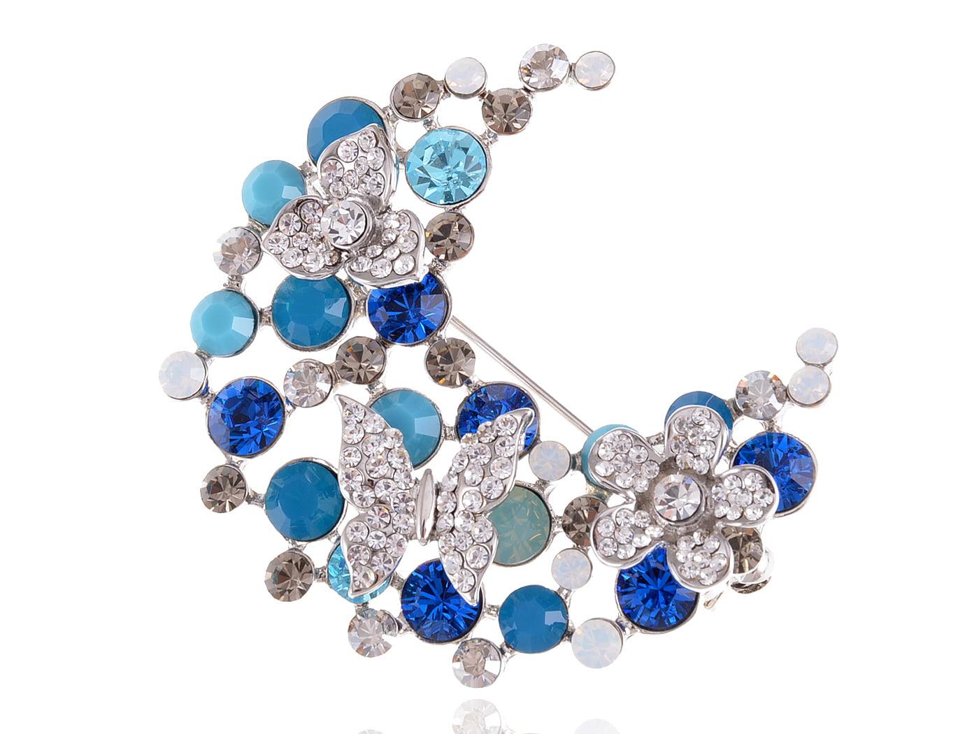 Blue Butterfly Flower Crescent Half Moon Crystal Rhinestone Pin Brooch by