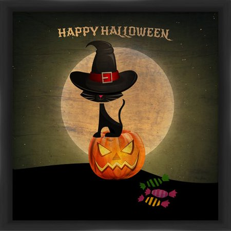 PTM Images Halloween Pumpkin and Cat Framed Graphic Art
