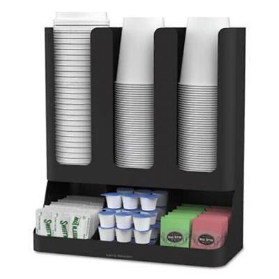 Six-Section Upright Coffee Condiment/Cup Organizer, Black ()