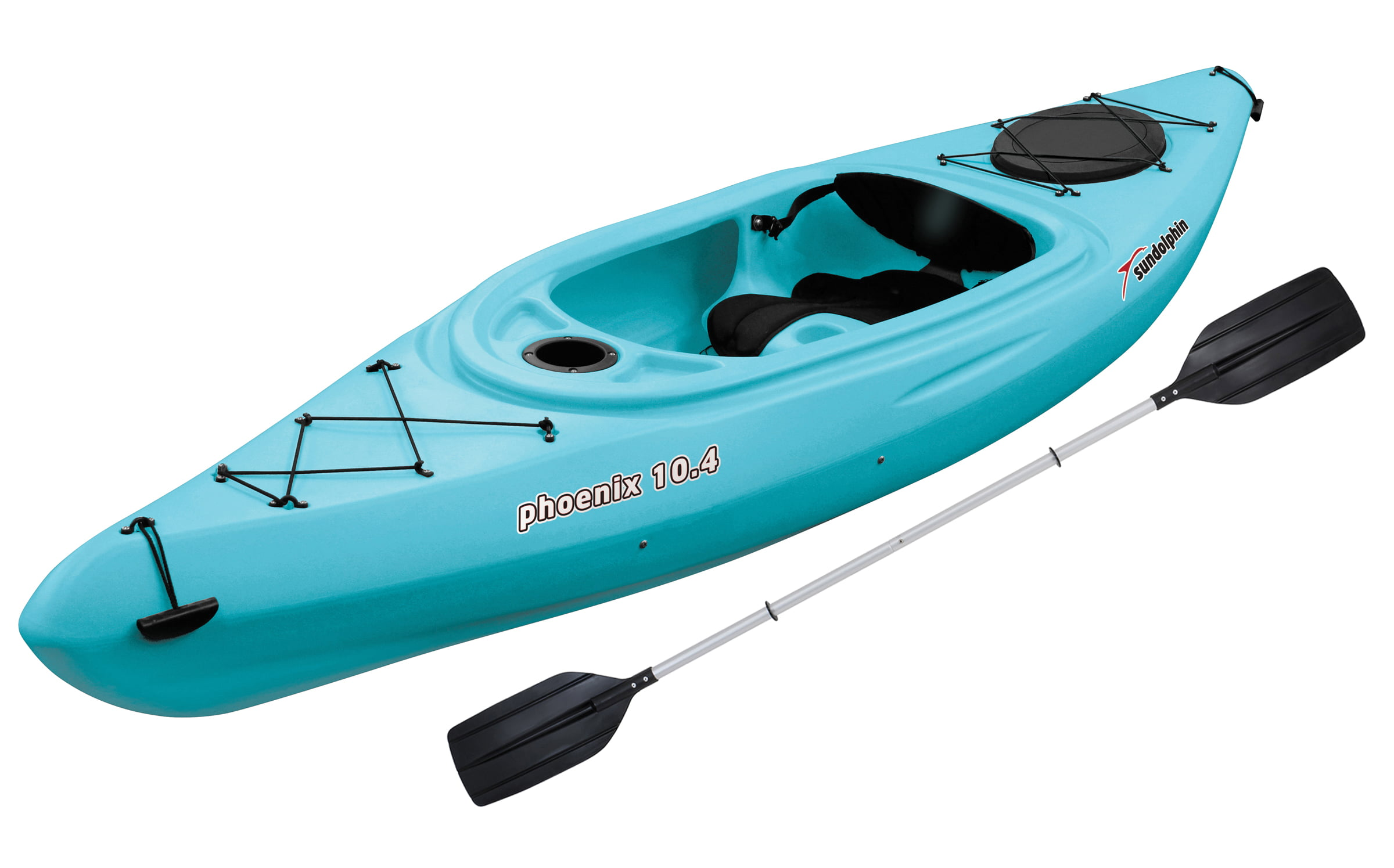Sun Dolphin Phoenix 10.4 Sit-In Kayak Sea Blue, Paddle Included by KL Outdoor