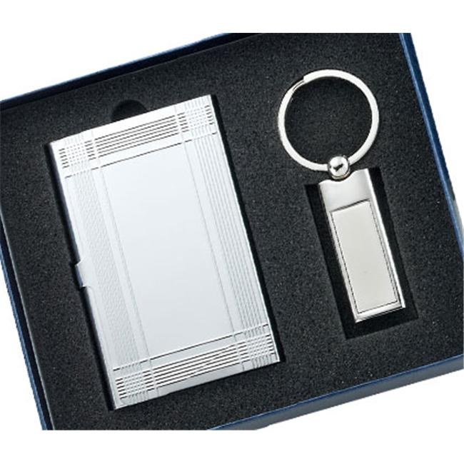 Aeropen International GCU-93 Set Silver Card Case with Long Rectangle Silver Key Ring in Gift Box by Aeropen International