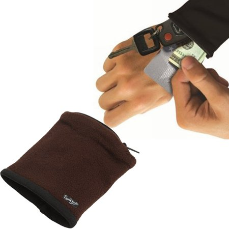 Banjees Wrist Wallet Pouch Band Fleece Zipper Running Travel Gym Color  Brown