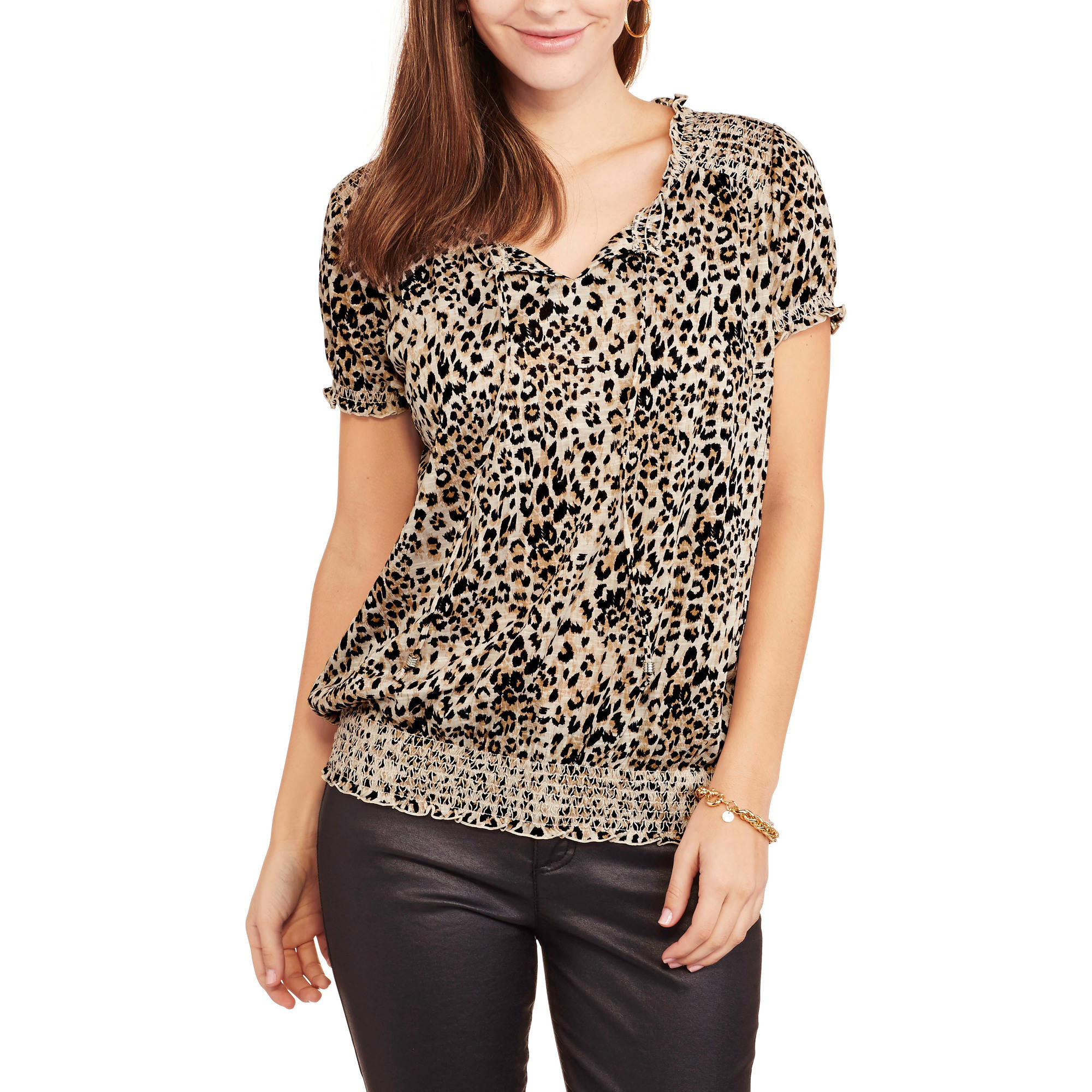 Faded Glory Women's Short Sleeve Peasant Top with Front Tassels and Elastic Waist