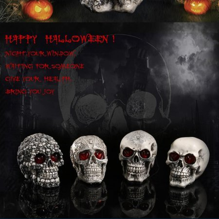 Resin Human Skull Replica Skeleton Model Funny Halloween Costumes Hounted House Scary Creepy Prop Masquerade Decoration Ornaments with LED Lights (Convex-concave Pattern) - Halloween Scary Skull