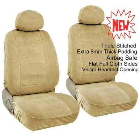 A35 Premium 4Pc Front 2 Bucket Seat Covers Set Automotive Grade Encore Fabric 8Mm Thick Triple Stitched   2 Front Bucket Seat Covers  2 Headrest Covers For Honda Pilot Beige  Tan