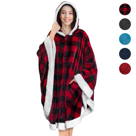 PAVILIA Angel Wrap | Blanket Poncho Wrap with Soft Sherpa Fleece | Plush, Warm Wearable Hooded Throw with Pockets For Women Gift (Wool Blanket Poncho)