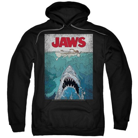 JAWS Classic Shark Thriller Film Line Graphic Poster Adult Pull-Over Hoodie