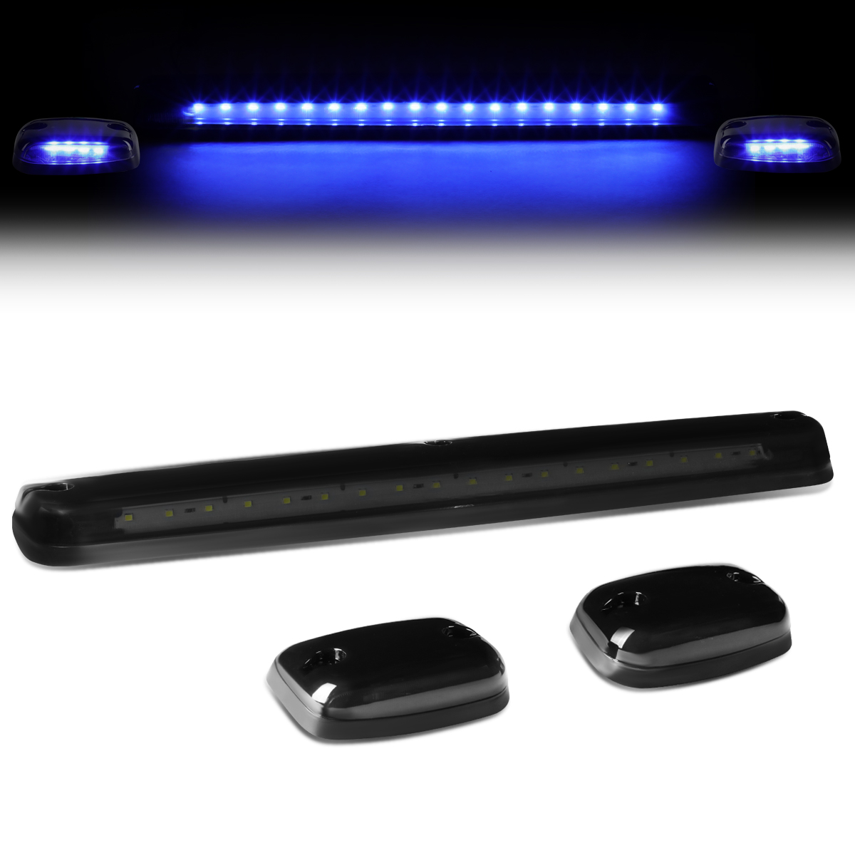 For 07-13 Silverado / Sierra GMT900 LED Cab Roof Center Light + Pair Side Lamps (Smoked Housing Blue LED) 09 10 11 12