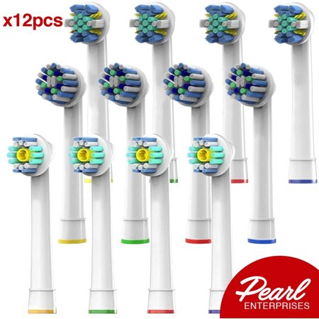Pearl Enterprises Compatible Replacement Brush Heads - Pack Of 12 Electric Toothbrush Assorted Heads Fits Many Bases - Try Them All, You'll Find Your Favorite! Braun Oral B Replacement Brush