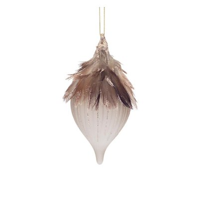 "Melrose 6"" Frosted Glass Onion Drop With Feathers Christmas Ornament   Bronze by Melrose"