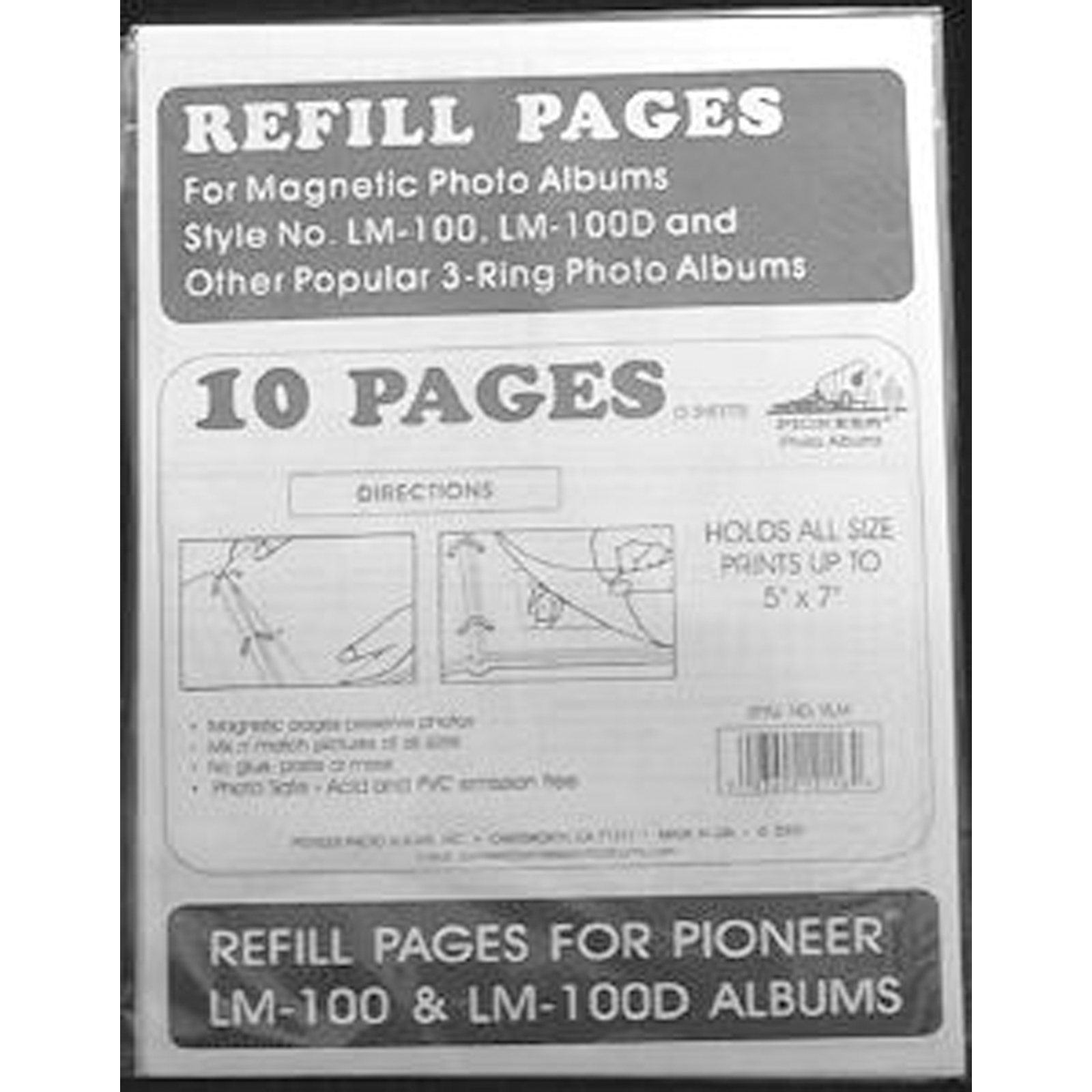 Pioneer Magnetic Photo Album Refill Pages, 8.25 by 10.5-Inch, 5-Pack Multi-Colored