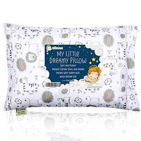 Toddler Pillow with Pillowcase - 13X18 Soft Organic Cotton Baby Pillows for Sleeping - Washable and Hypoallergenic - Toddlers, Kids, Infant - Perfect for Travel, Toddler Cot, Bed Set (Kea