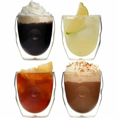 Moderna Artisan Series Double Wall 8 oz Beverage Glasses - Set of 4 Drinking Glasses