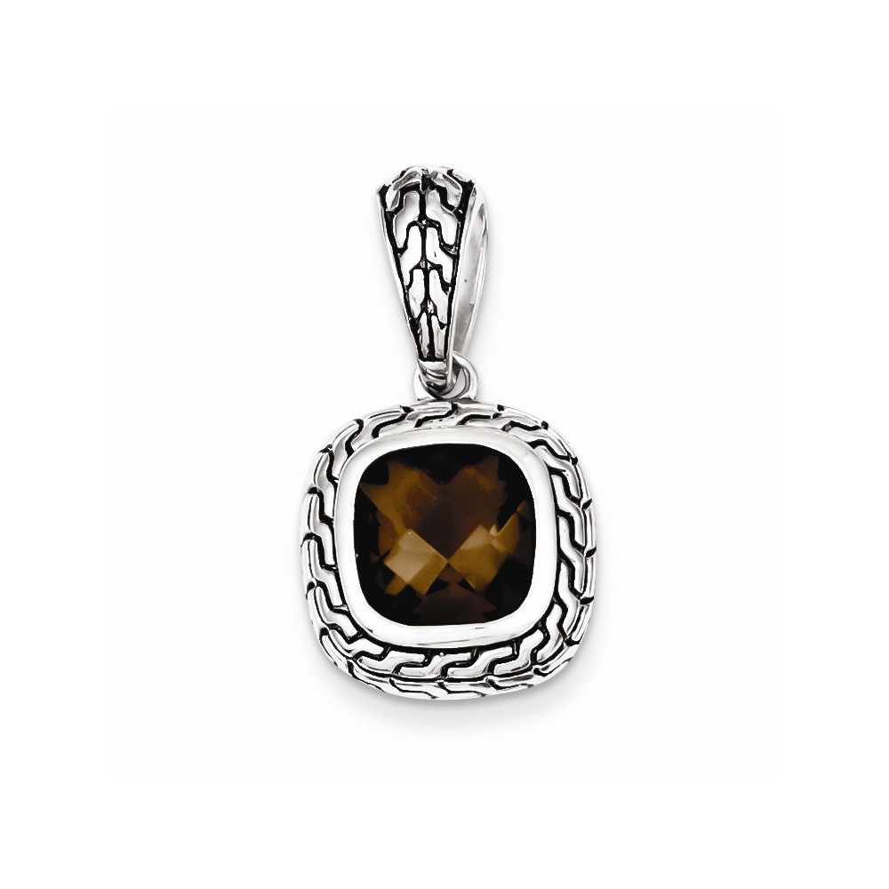 Sterling Silver Antiqued Brown CZ Pendant