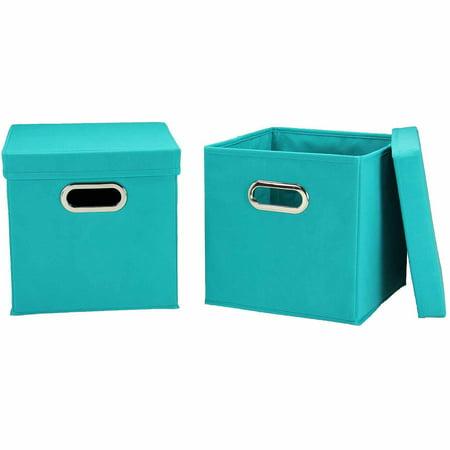 Household Essentials Cube Set with Lids, 2pk, - Aqua Storage