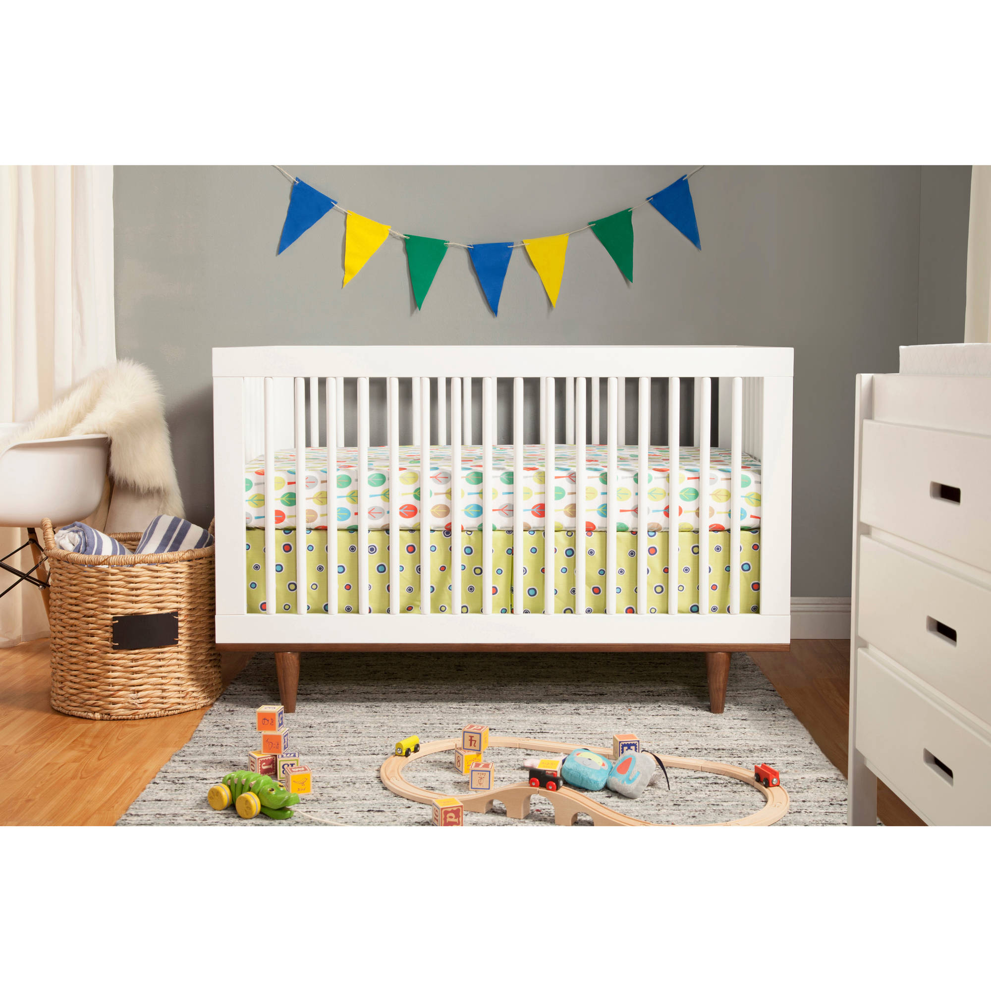Baby Mod Marley 3-in-1 Convertible Crib, White And Walnut