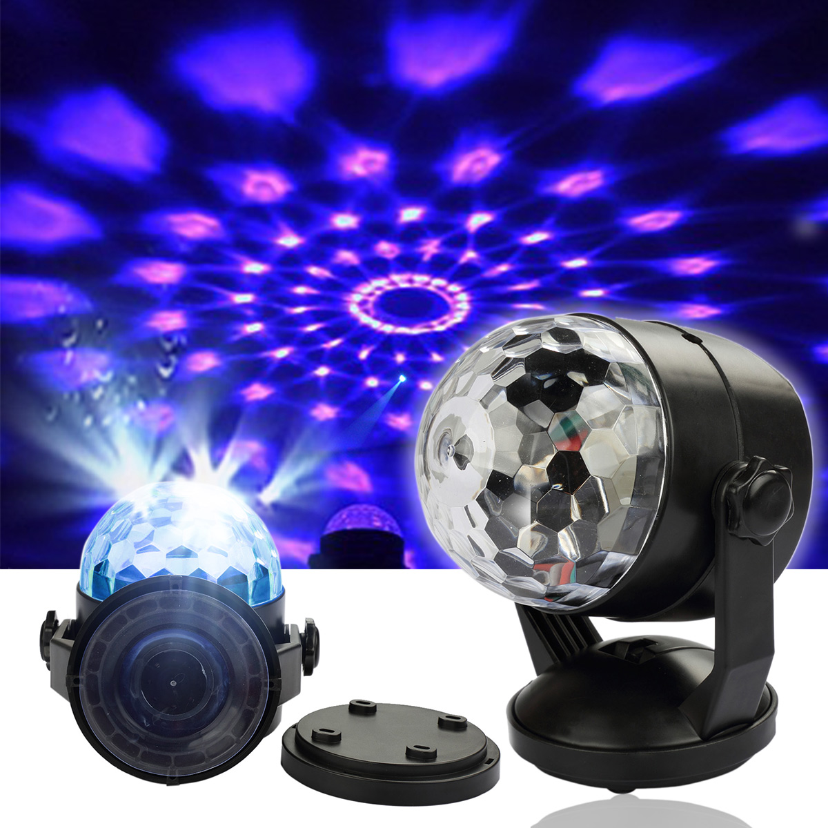 Besmall 3W Mini RGB LED Crystal Magic Ball Stage Lighting Effect Lamp Bulb Party Disco Club DJ Light for Halloween... by Besmall