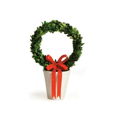 """15"""" Conservé Boxwood Evergreen Couronne en crème décorative Planteur Pot - image 1 de 1"""