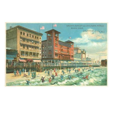 Hotels on Boardwalk, Atlantic City, New Jersey Print Wall Art (Party City Atlantic)