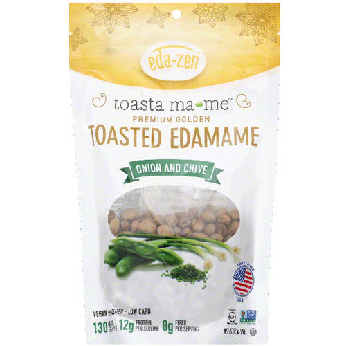 Eda-Zen Toasta Ma-Me Premium Golden Onion and Chive Toasted Edamame, 3.5 oz, (Pack of 6)