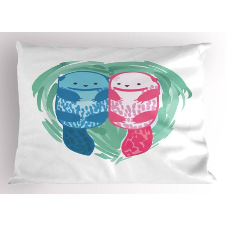 Otter Pillow Sham Cute Water Mammal Watercolor Abstract Animal Pattern Aquatic Marine Life, Decorative Standard Size Printed Pillowcase, 26 X 20 Inches, Mint Green Blue Pink, by Ambesonne - Mint Green Blue