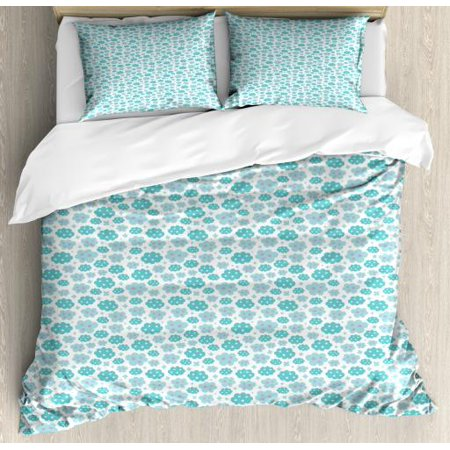 Stars Queen Size Duvet Cover Set, Abstract Clouds Pattern with Star Motifs Cartoon Style Weather, Decorative 3 Piece Bedding Set with 2 Pillow Shams, Seafoam Pale Sea Green Purple, by