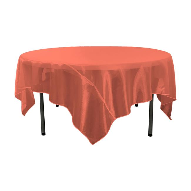 Merveilleux LA Linen TCOrgz90X90 Red098 Sheer Mirror Organza Square Tablecloth, Red    90 X 90 In.