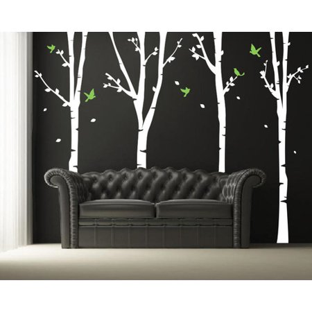 Pop Decors Four Super Birch Trees Wall Decal