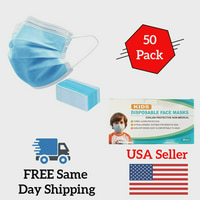 Face Masks 50 PCS Children Disposable 3 Ply Cotton Fabric w/ Elastic Ear Loop