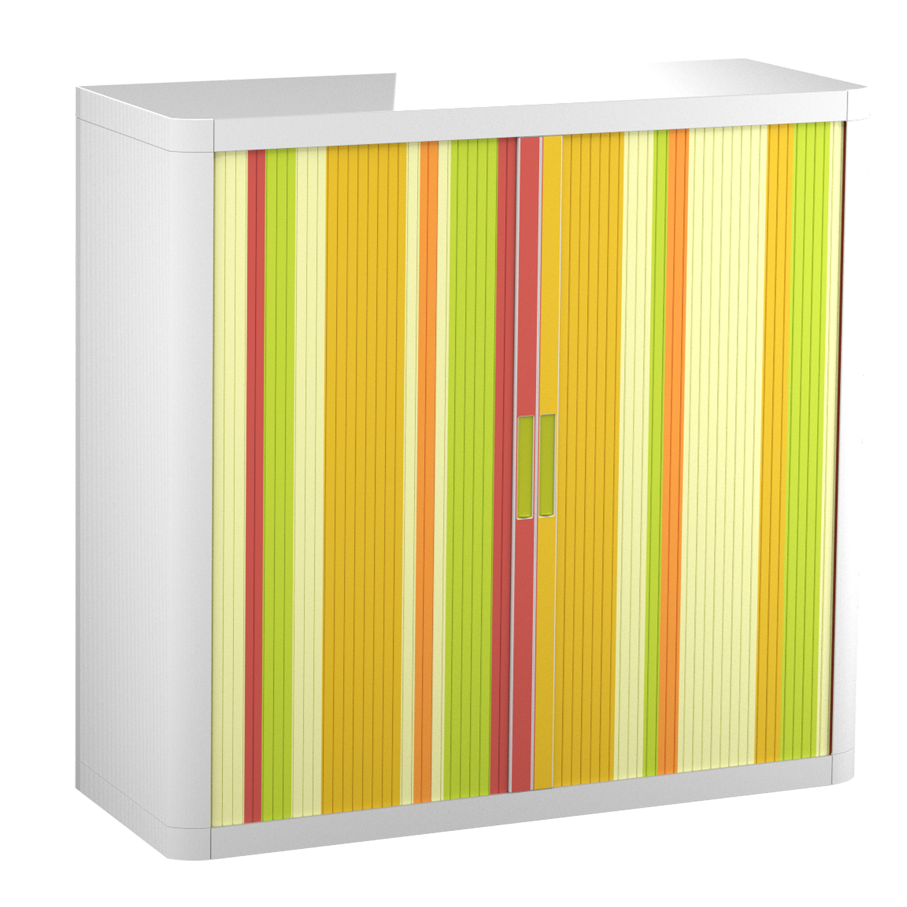 "Paperflow easyOffice Storage Cabinet, 41"" Tall with Two Shelves, Yellow Green and Red Vertical Stripe"