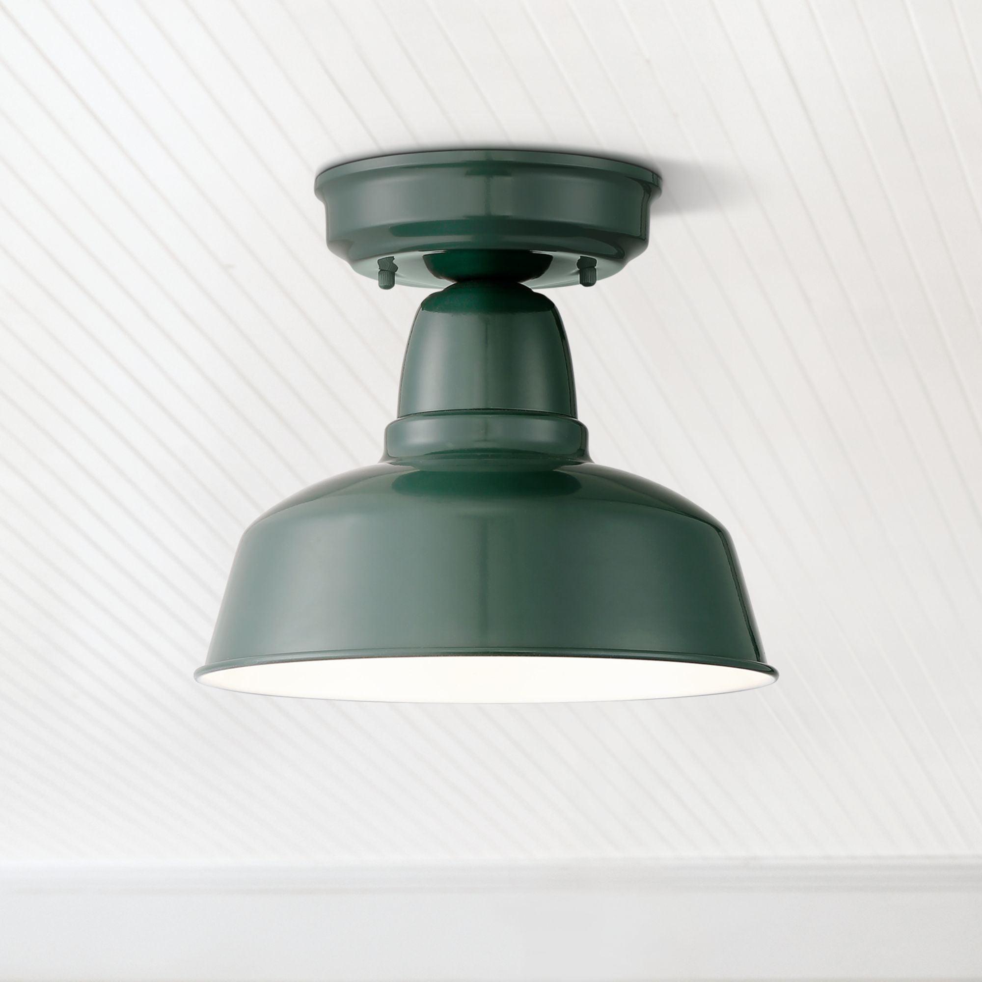 "John Timberland Rustic Outdoor Ceiling Light Fixture Urban Barn Dark Green 10 1/4"" for Exterior House Porch Patio"