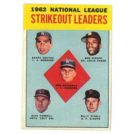 RDB Holdings & Consulting CTBL-021495 1963 Topps 1962 NL Strikeout Leaders Baseball Trading Card No. 9 Sandy Koufax & Don Drysdale & Bob Gibson