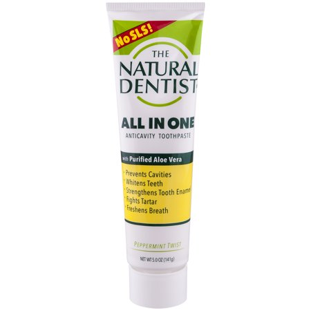 The Natural Dentist Whitening Fluoride Toothpaste, Peppermint Twist, 5 Oz Tube (Natural Toothpaste Whitening)