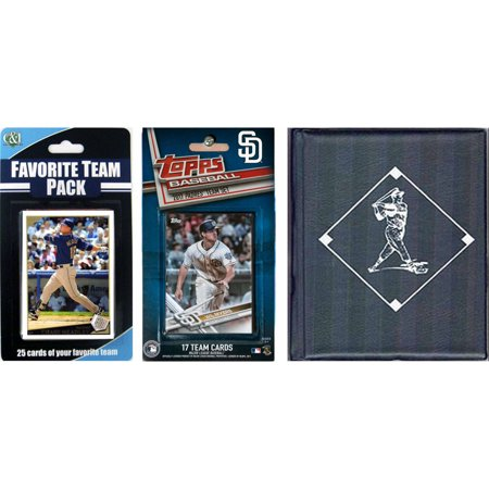C & I Collectables MLB San Diego Padres Licensed 2017 Topps Team Set and Favorite Player Trading Cards Plus Storage Album