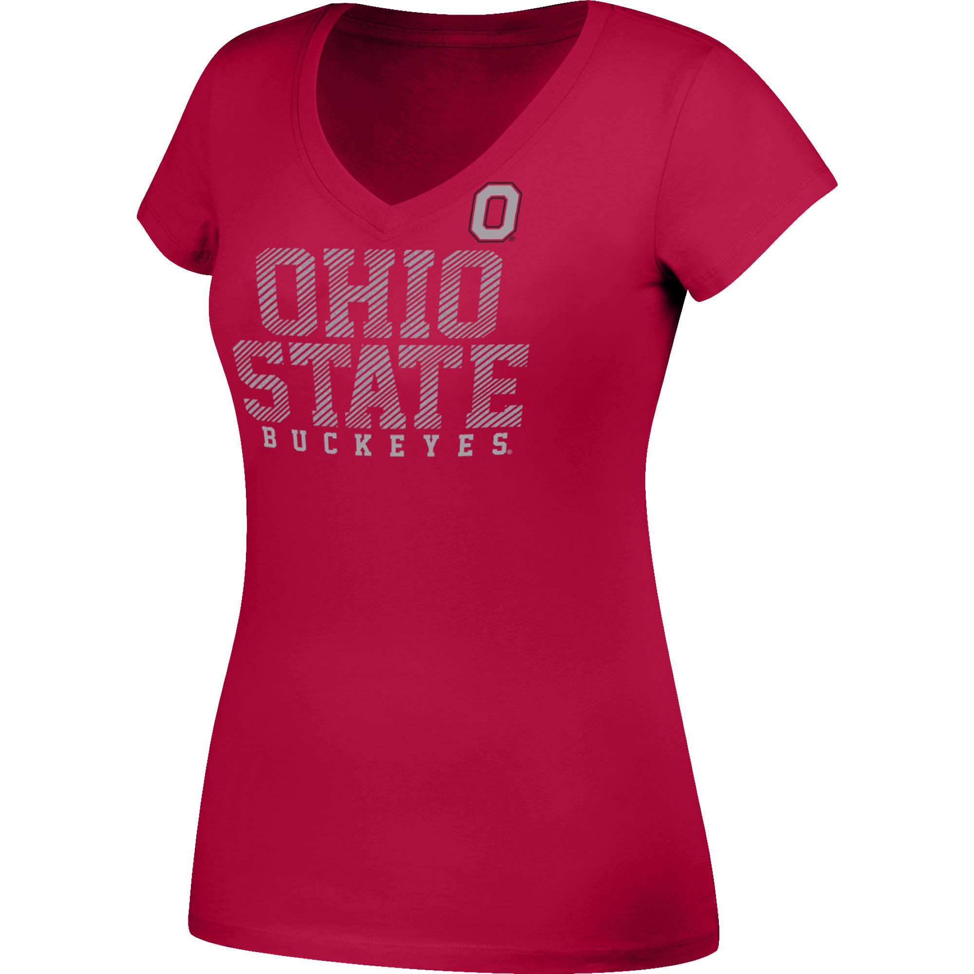 Women's Scarlet Ohio State Buckeyes Glitter V-Neck T-Shirt