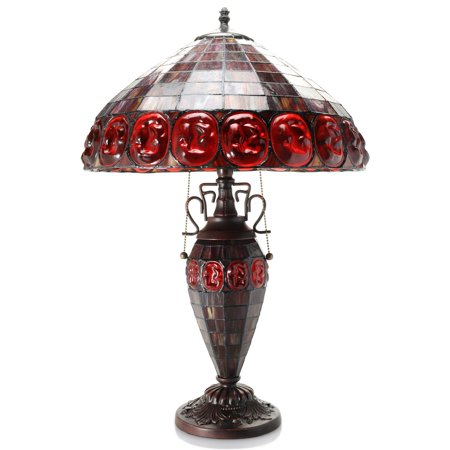 Angie Double Lit Stained Glass 24  Turtleback Style Table Lamp