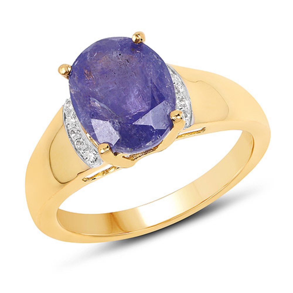 Genuine Oval Tanzanite and White Topaz Ring in Sterling Silver Size 7.00 by Bonyak Jewelry
