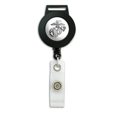 Id Anchor - Marine Corps USMC Black White Eagle Globe Anchor Logo Officially Licensed Lanyard Retractable Reel Badge ID Card Holder