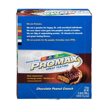 Promax Energy Bar Chocolate Peanut Crunch Gluten-Free - 12 CT